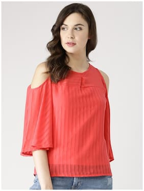 Marie Claire Women Polyester Solid - Regular Top Red