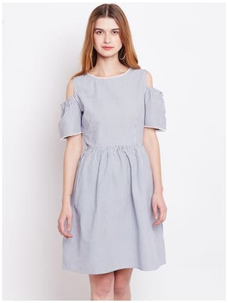 Blue Fit Dress and Claire Women Flare Marie Striped q7OUBWna