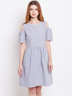 Marie Claire Women Blue Striped Fit and Flare Dress