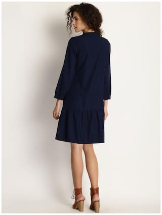 Line A Women Dress Navy Claire Marie Design Blue Self nYPwq0FFZf
