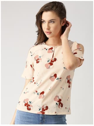 Marie Claire Women Polyester Printed - Regular Top Beige