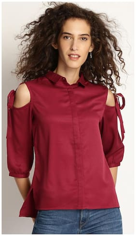 Marie Claire Women Maroon Regular Fit Solid Casual Shirt