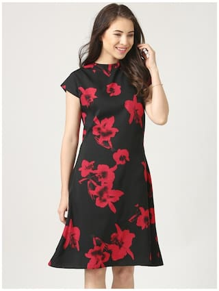 Marie Claire Printed Marie Dress Black Claire 7qxwPdZazz