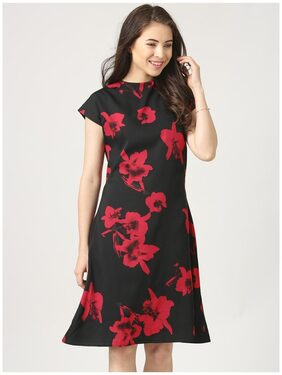 Marie Claire Crepe Printed A-line Dress Black