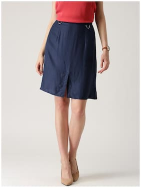 Marie Claire Solid Straight Skirt Mini Skirt - Blue