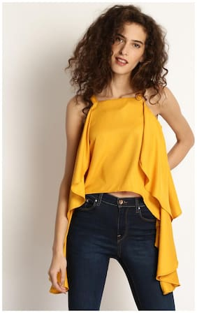Marie Claire Women Rayon Printed - A-line top Yellow