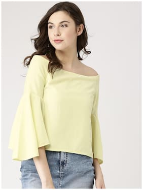 Marie Claire Yellow Solid Top