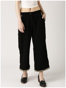 Marie Claire Women Black Relaxed Fit Ankle-Length Parallel Trousers