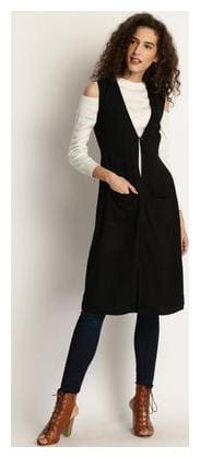 Marie Claire Black Solid Button Shrug