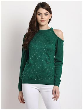 Marie Claire Women Solid Sweaters & Pullovers - Green