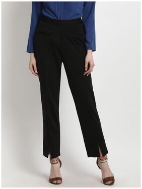 Marie Claire Women Regular Fit High Rise Solid Pants - Black