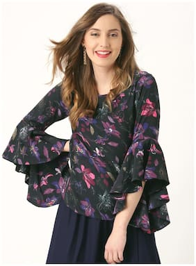 Marie Claire Women Polyester Printed - Regular top Black