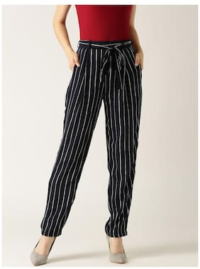 Marie Claire Women Navy & White Original Fit Striped Peg Trousers