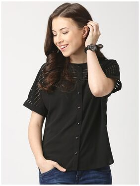 Marie Claire Women Solid Regular Top - Black
