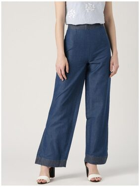 Marie Claire Blue Solid Trousers