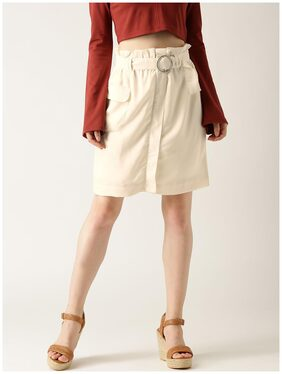 Marie Claire Solid A-line Skirt Mini Skirt - Cream