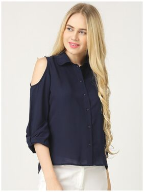 Marie Claire Dark Blue Solid Shirt