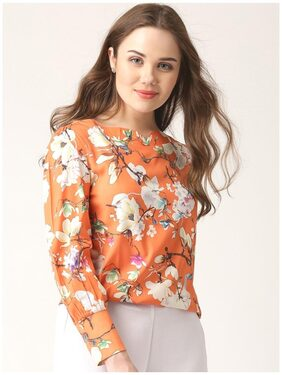 Marie Claire Women Printed Regular Top - Orange