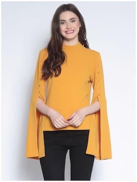 Marie Claire Women Cotton Geometric - Regular top Yellow