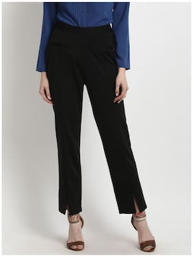 Marie Claire Women Black Smart Regular Fit Solid Trousers