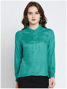 Marie Claire Women Green Solid Shirt Style Top