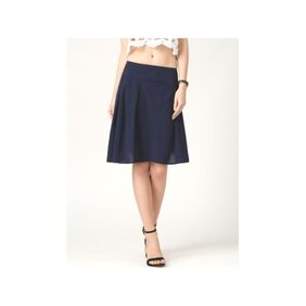 Marie Claire Navy Blue Solid Skirt