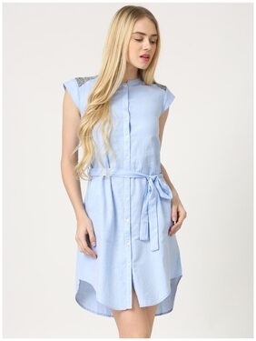 Marie Claire Blue Solid Dress