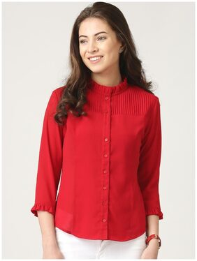 Marie Claire Women Regular Fit Solid Shirt - Red
