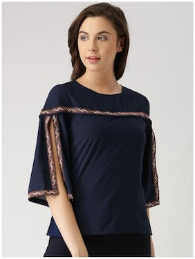 Marie Claire Women Navy Blue Solid Top