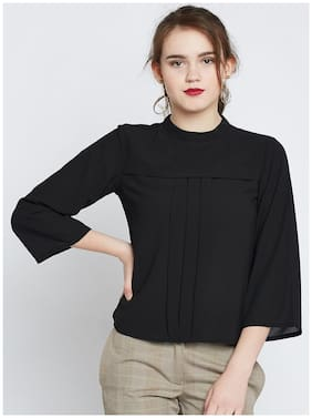 Marie Claire Women Georgette Solid - Regular top Black