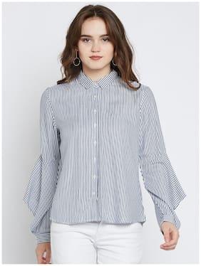 Marie Claire Women Regular fit Striped Shirt - Grey