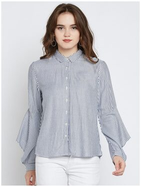 Marie Claire Women Blue & White Regular Fit Striped Casual Shirt