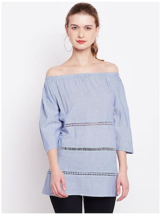 70e442ecec78c0 Buy Marie Claire Women Blue   White Striped Bardot Top Online at Low ...