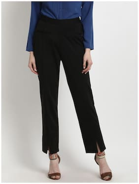 Marie Claire Women Regular fit High rise Solid Regular pants - Black