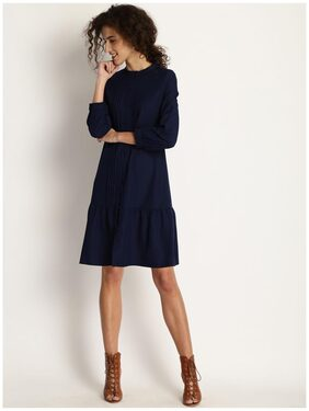 Marie Claire Women Navy Blue Self Design A-Line Dress