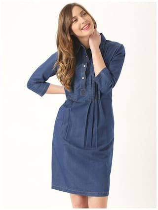 Blue Marie Claire Dress Solid Dark YRwYAqfg