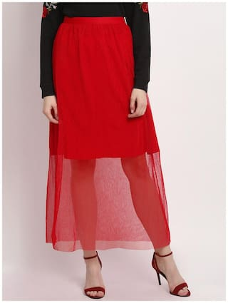Marie Claire Solid Flared skirt Maxi Skirt - Red