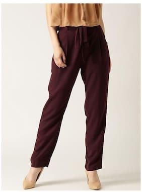 Marie Claire Women Burgundy Solid Original Fit Peg Trousers