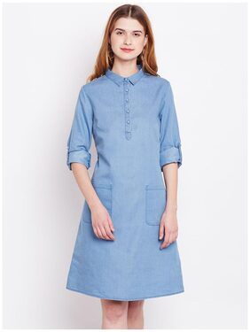 Marie Claire Women Blue Denim Shirt Dress