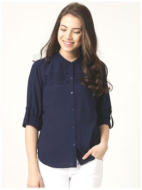 Marie Claire Women Regular Fit Solid Shirt - Navy