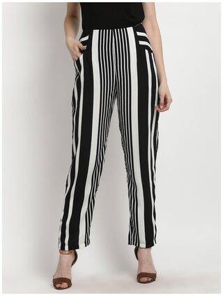Marie Claire Women Blue & White Smart Regular Fit Striped Regular Trousers