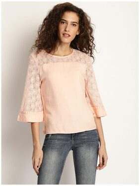 Marie Claire Women Peach-Coloured Solid Top