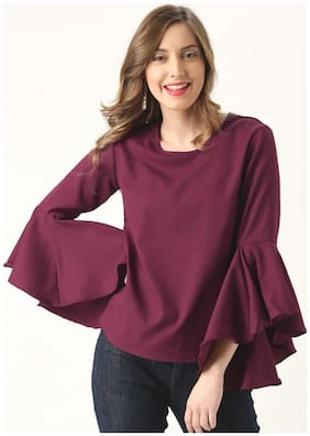 Marie Claire Women Polyester Solid - Regular Top Pink