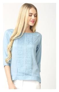 Marie Claire Women Georgette Striped - Regular top Blue