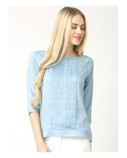 03ac8d1e5cc206 Marie Claire Women Georgette Striped - Regular Top Blue