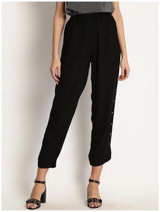 Marie Claire Women Black Comfort Regular Fit Solid Regular Trousers