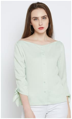 Marie Claire Women Polyester Solid - Regular top Grey