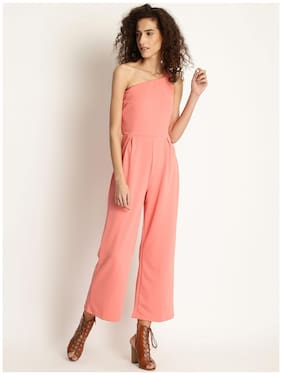 Marie Claire Peach-Coloured Solid Basic Jumpsuit