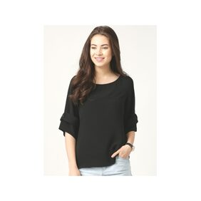 Marie Claire Black Solid Top