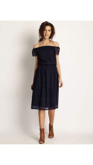 Marie Claire Women Blue Solid Fit and Flare Dress